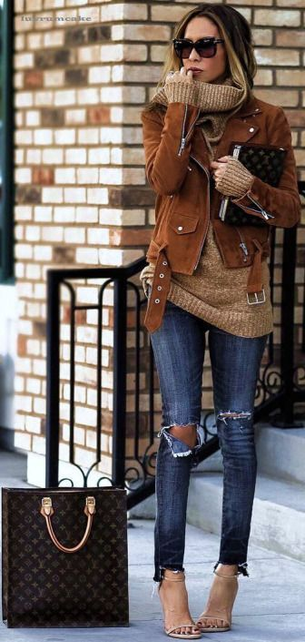 Camel sweater, dark brown jacket and ripped jeans