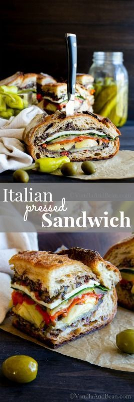 Vegetarian or Vegan, this Italian Pressed Sandwich is a make ahead, feeds a small crowd nourishing and flavor packed sandwich you'll be making again and again!