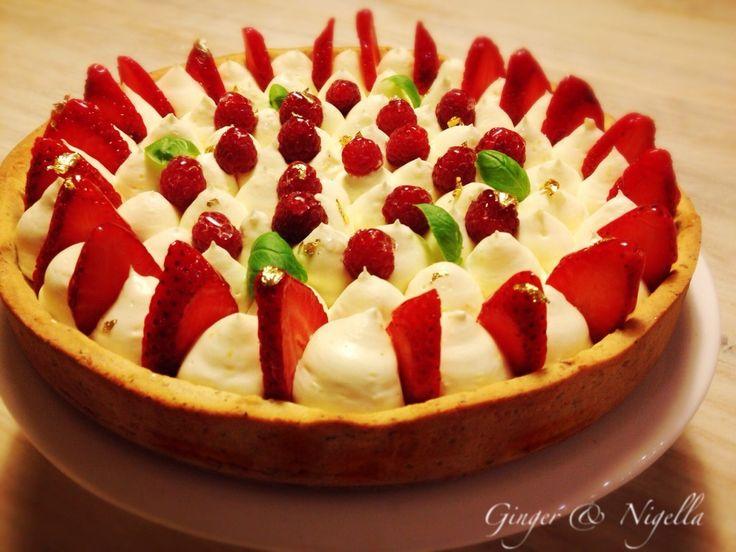 corostata primavera, namelaka al basilico, limone, basilico, fragole, torta alla frutta, torta cremosa, Gianluca Fusto, frolla alla nocciola