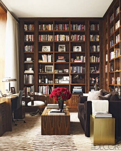 Library of Walter Schupfer and Gina Goldman.  LOVE the Seirafi rosewood, velvet sofa, and brass and chrome elements.