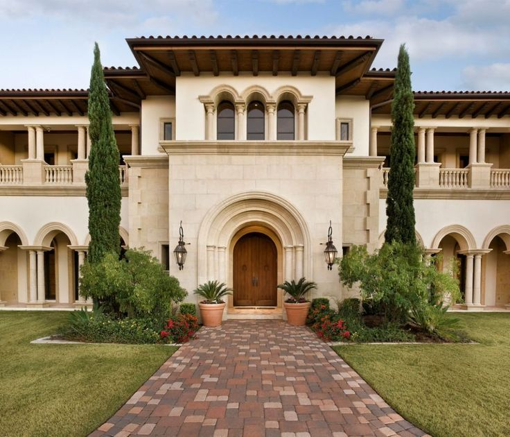 Tuscan House Style With Front Walkway And Italian Cypress Trees : Amazing Tuscan House Style
