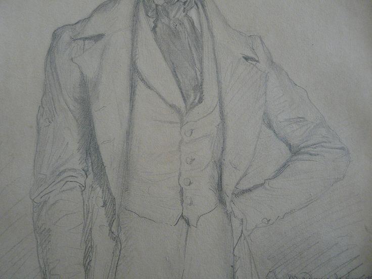CHASSERIAU Théodore,1844 - Portrait de Lamartine - drawing - Détail 05