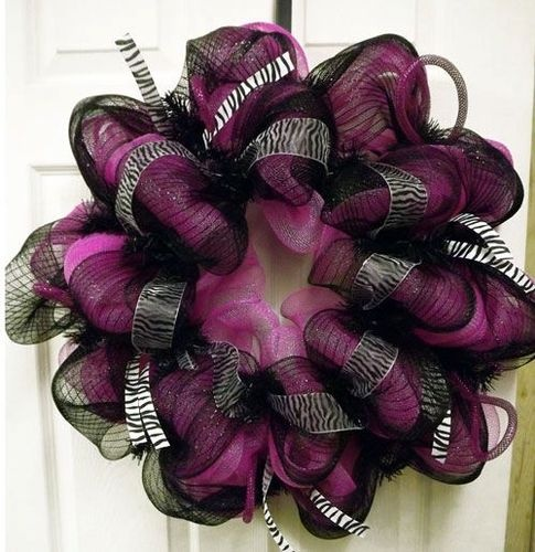 New Zebra Geo Mesh Wreath - Deco Mesh Wreath - Zebra  Wreath  - Door Wreath Hot pink and black with the zebra ribbon