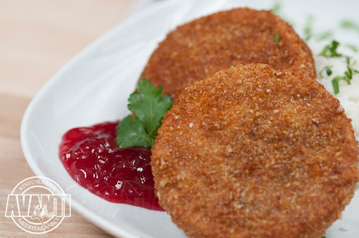 Breaded camembert cheese (Fried camembert cheese in grinded walnut substitute with blueberry jam and jasmine rice)