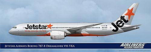 Jetstar Airways Boeing 787-8 Dreamliner VH-VKA Realistic Airliner Art Illustrations.