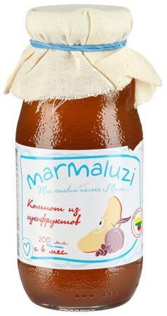 Marmaluzi Напиток компот из сухофруктов с 6мес. 200мл.  — 92р. - Натуральный напиток Marmaluzi (Мармалузи) из сухофруктов подходит для малышей с 6 месяцев. Компот богат витаминами и минералами, рекомендуется детям, страдающим запорами и аллергией. Для его приготовления используются тщательно отобранные сушеные ягоды и фрукты – яблоки, изюм, сливы.
