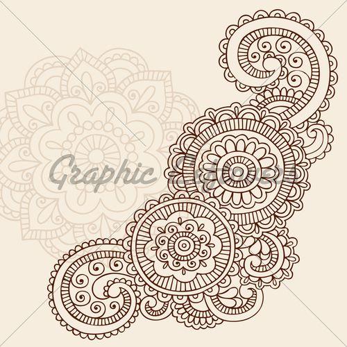 Henna Mehndi Doodles Abstract Floral Mandala An...