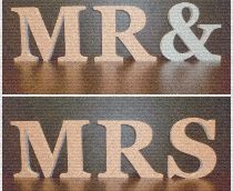 Mr & Mrs, wooden freestanding letters with colour theme decoupage finish to match wedding decor