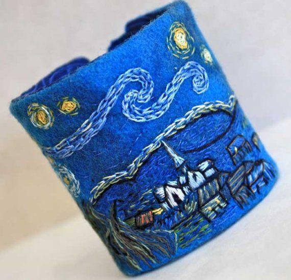 Starry cuffNight Hands, Cuffs Bracelets, Art Fiber, Hands Embroidered, Hands Embroidery, Embroidered Cuffs, Starry Night, Fiber Cuffs, Bracelets Hands