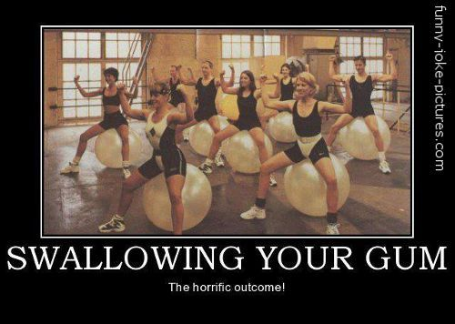 Funny Swallowing Chewing Gum Gym Women Picture Joke http://ibeebz.com