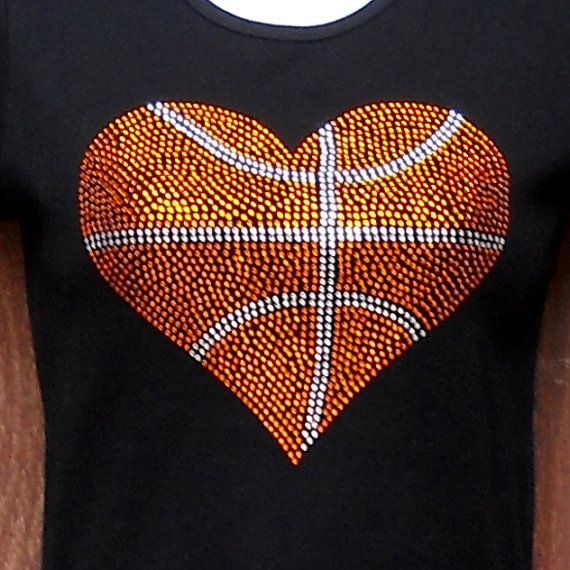 Women's rhinestone Basketball heart shirt by RedheadedMonkeys, $28.00