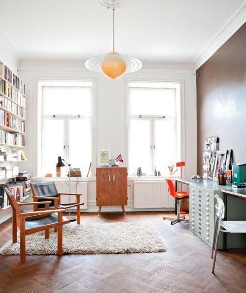 light and organization of Scandinavian workspace