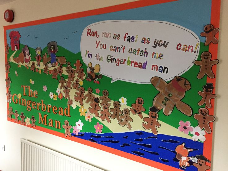 The Gingerbread Man by the kids in reception at Sacred heart school #Bushey #nursery #story #schoolboard #bullitenboard #stenciling #EYFS #Reception #kids #thegingerbreadman