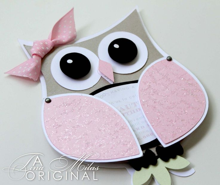 DIY Owl Invitations for your baby shower. Love the ribbon & the pinkness on the owl! #babyshower
