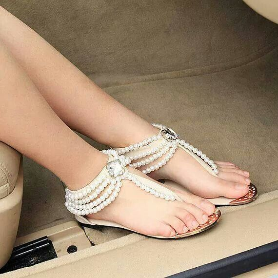 Handmade Bridal Shoes Comfortable Flats Sandal Colors Blacl Or White Reception