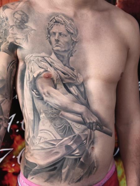 Full size greyscale tattoo of Gaius Julius Caesar statue