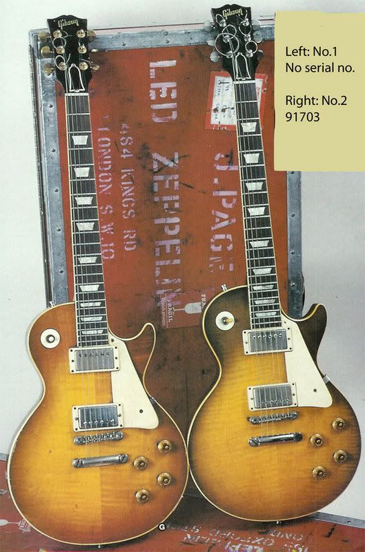 """Jimmy Page's """"59 Les Paul No. 1 on the left, and his """"59 Les Paul No. 2 on the right...Touring kit...."""