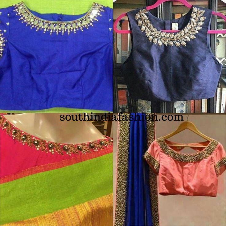 Embellished Necklace Blouse Designs