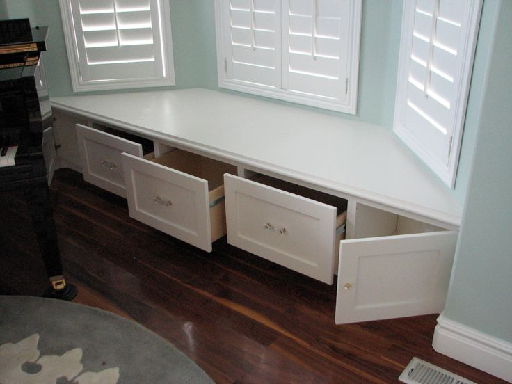 There was enough room for 3 deep drawers in the middle, plus a couple of cabinet doors on the ends to take advantage of the area in front of the angled ...