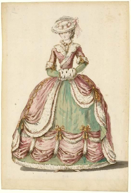 Charles-Germain de Saint-Aubin: dame en habit de cour 1785. ©Photo Les Arts Décoratifs, Paris Tous droits réservés