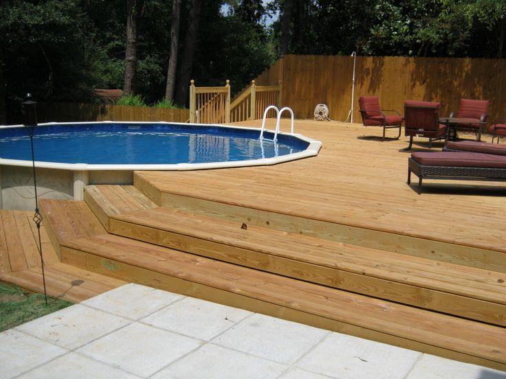 how to build a deck around a semi inground pool