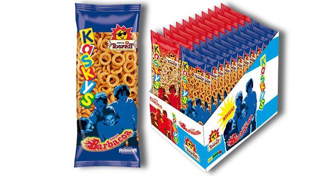 Kaskys Barbacoa, de Tosfrit: Aro de maíz frito sabor barbacoa, con promoción de lanzamiento de dos bolsas (una de Kaskys Clásico y otra de Kaskys Barbacoa).