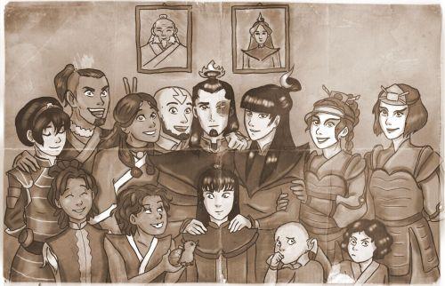 Team Avatar with their familys