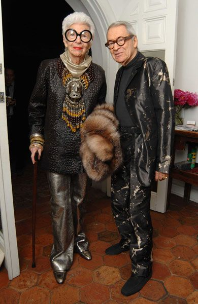 Iris Apfel  with her husband Carl.