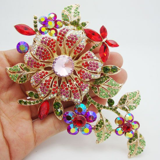 Vintage Fashion Luxury Flower Brooch Red Rhinestone Crystal Brooch Pin Beautiful Woman Rhinestone Jewelry Brooch