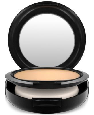 MAC Studio Fix Powder Plus Foundation, 0.52 oz $28.00 A one-step application of foundation and powder. Gives skin a smooth, flawless, all-matte, full-coverage finish. Long-wearing: lasts for up to eight hours. A real all-in-one. The choice of pros, and a long time favourite of MAC fans.