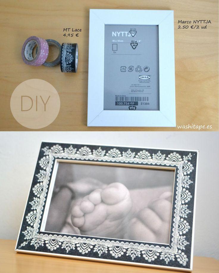 Marco de fotos con washi tape