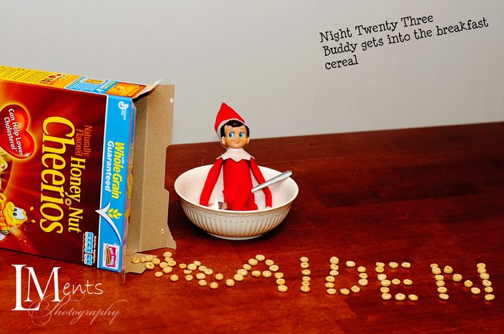 Spell out name with cerealBreakfast Ideas, Breakfast Cereal, Christmas Elf, Cereal Ideas, Cute Ideas, Shelves, Art Elf, Elf On A Shelf Ideas, Shelf Writing