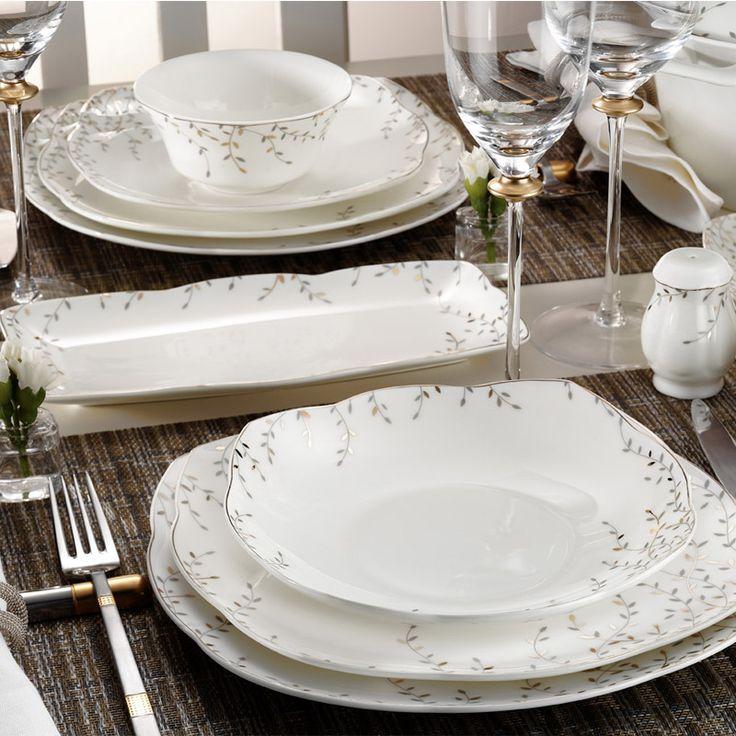 Kütahya Porselen Kare Bone 73 Parça 50110 Desen Yemek Takımı - Porselen Sepeti