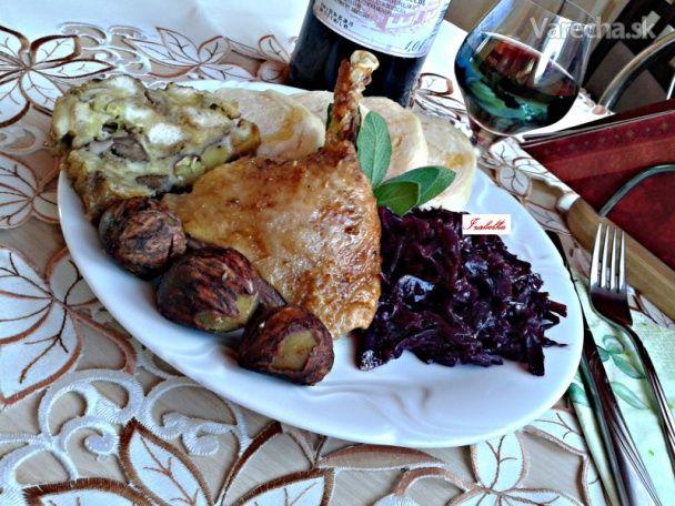 Pečená kačka so zázvorovým medom a s plnkou z pečienok a gaštanov (fotorecept) - Recept