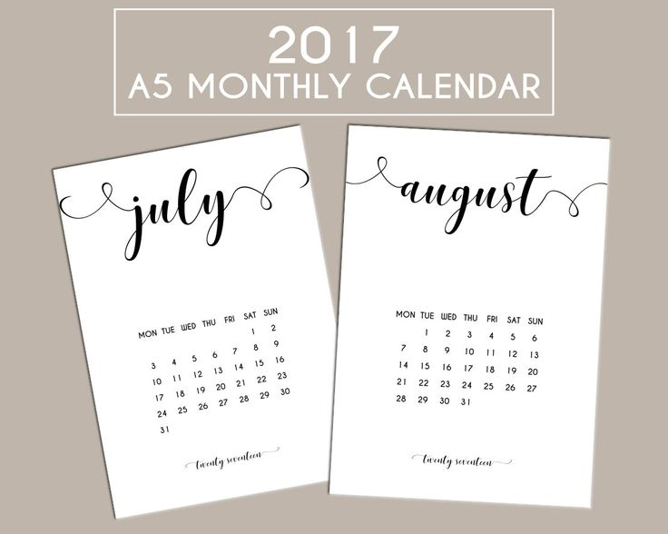 2017 A5 Printable Monthly Calendar Planner Inserts Filofax / Page Dividers by PlanBelieveAchieve on Etsy