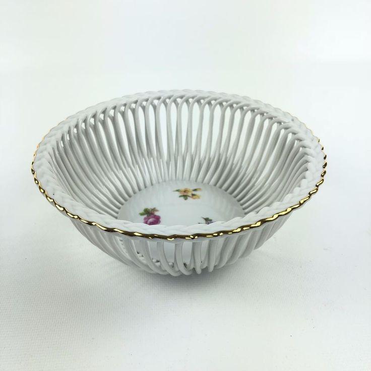 White Bowl Open Weave Triptis Porzellan Gold Rim Streublumchen Germany 6.25 in #TriptisPorzellan