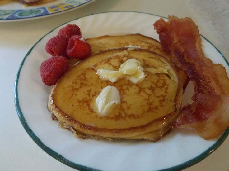 """""""THM Pancake Heaven"""" Just like buttermilk pancakes. 6 eggs, 6 Tbsp oat fiber or THM baking blend, 2 tsp vanilla,  8 oz 1/3 fat  cream cheese, 1 tsp Glucomannan or Xantham gum Sweetener to taste.I used 6 packets of Truvia I used my blender and mixed the eggs and cream cheese first.Make sure your cream cheese is softened. Then add the remaining ingredients and blend. Fry up in a butter covered skillet. Enjoy! S Meal"""
