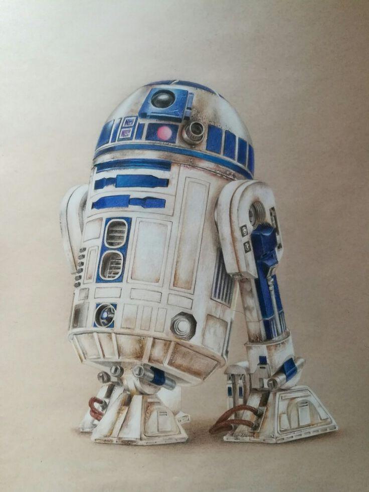 R2D2, lápices de colores sobre papel beige, 40 x 60 cms.