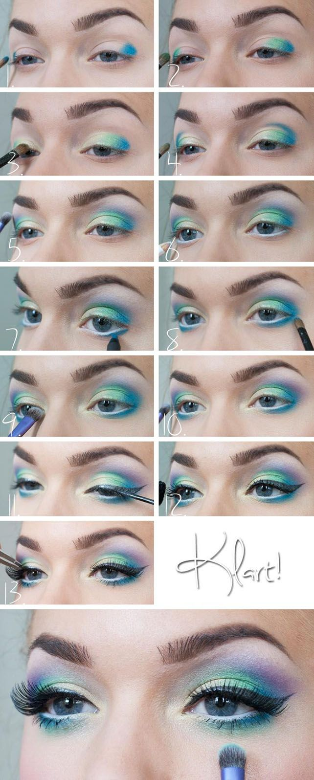 Gorgeous Mermaid Eye Shadow Tutorial #eyeshadow #makeup                                                                                                                                                                                 More