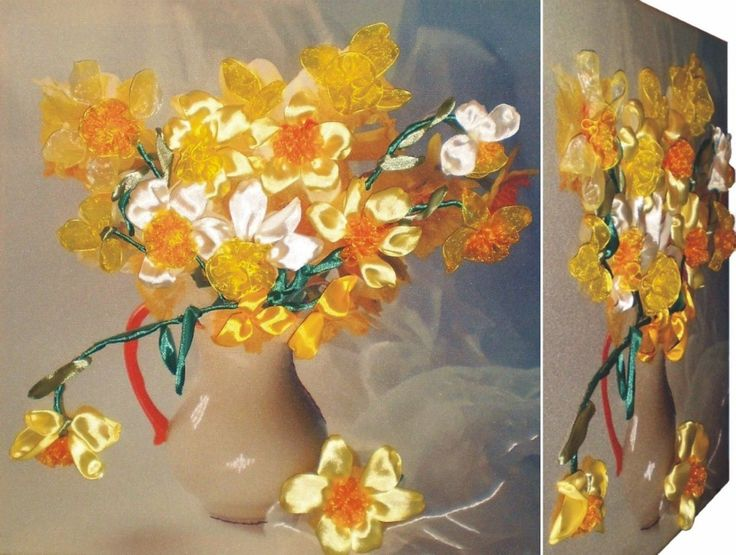 YELLOW ANEMONE 3D Ribbon embroidery on printed canvas with back woodden frame size: cm. 35x35 Price: € 140,00 $ code: P001