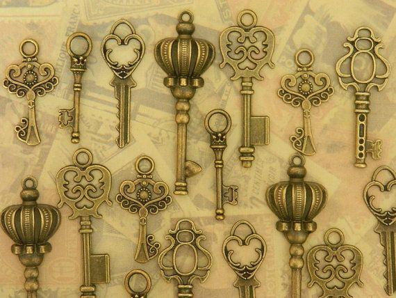 36 Alice in Wonderland skelet sleutels door GlowberryCreations
