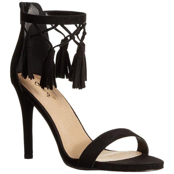 Qupid GRAMMY-123X Women's Tassels Ankle Strap Stiletto Heel Party Dress Sandals - $104.95