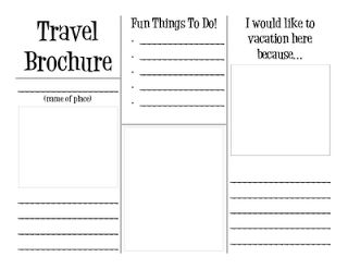 Love this free printable Travel Brochure.  Would be fun to use on vacations this year for the kids to make one about our vacation spots!