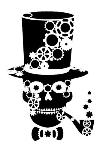 steampunk cogs skull in top hat and pipe stencil