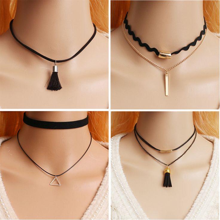 Women's Choker Necklace Fashion Punk Black Leather Silver Studs 2016 Hot False Collar Necklaces for women collier Bijoux