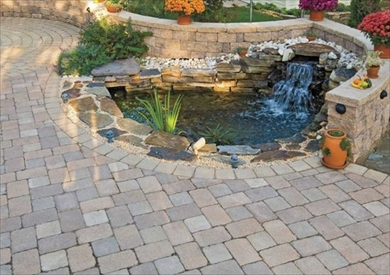 Ep henry old towne cobble harvest blend waterfall and for Backyard pond installation