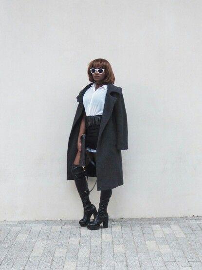 www.styledbypromise.com Punk it Up Lfw15 #monochrome #punk #black&white #overthekneelboots #londonfashionweek #streetstyle #2015