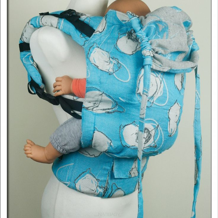 Soft Structured Carrier NatiGo Kitty Turquoise