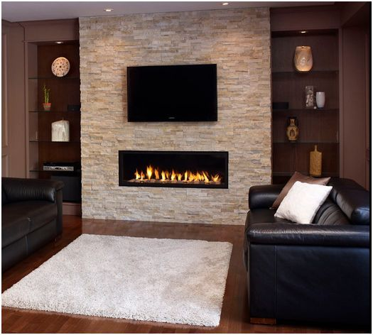 Stone with wall mounted electric fireplace for the basement family room.