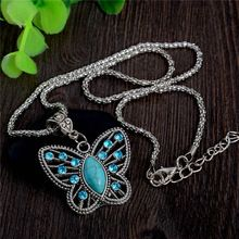 Trendy Lady Exquisite Butterfly Women Turquoise Stone Pendant Necklace Rhinestone Crystal Long Chain Jewelry(China (Mainland))